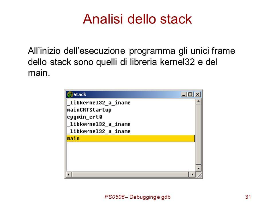 PS0506 – Debugging e gdb31 Analisi dello stack Allinizio dellesecuzione programma gli unici frame dello stack sono quelli di libreria kernel32 e del main.