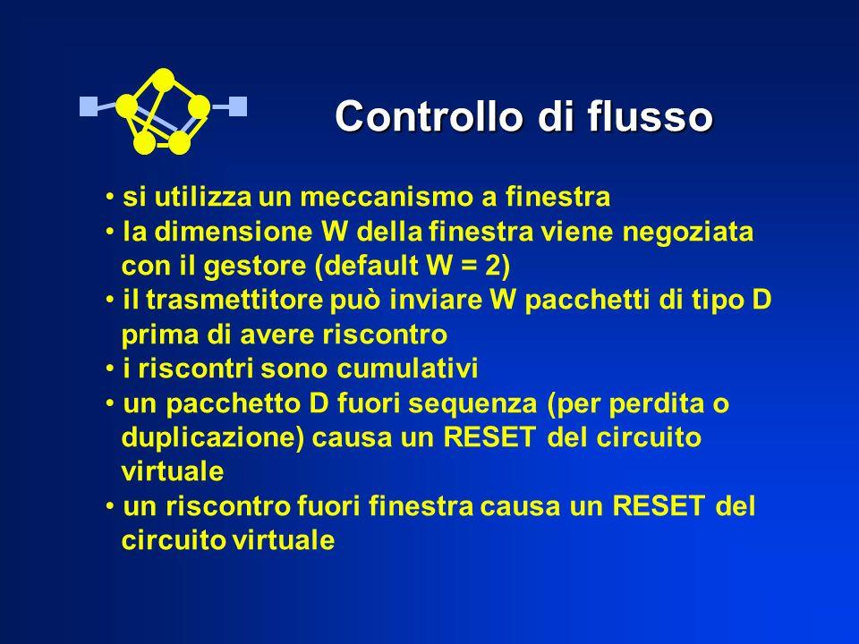 Controllo di flusso si utilizza un meccanismo a finestra la dimensione W della finestra viene negoziata con il gestore (default W = 2) il trasmettitor