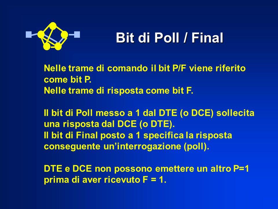 Bit di Poll / Final Nelle trame di comando il bit P/F viene riferito come bit P. Nelle trame di risposta come bit F. Il bit di Poll messo a 1 dal DTE