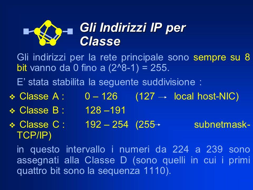Gli Indirizzi IP per Classe Gli indirizzi per la rete principale sono sempre su 8 bit vanno da 0 fino a (2^8-1) = 255. E stata stabilita la seguente s