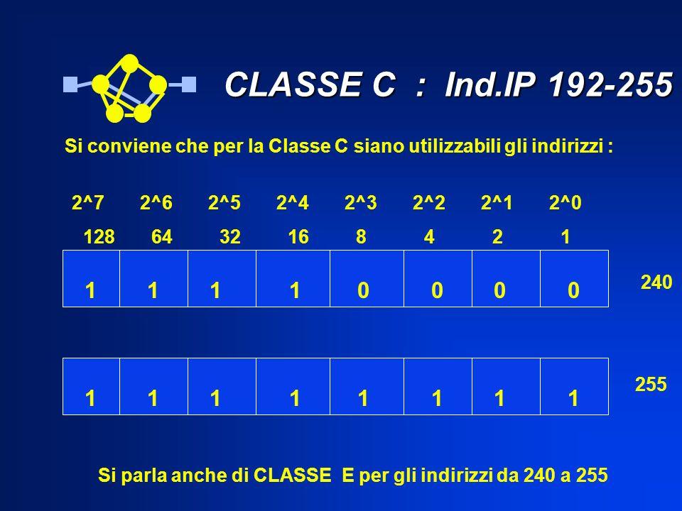 CLASSE C : Ind.IP 192-255 CLASSE C : Ind.IP 192-255 2^72^62^52^42^32^22^12^0 1286432168421 10111000 11111111 240 255 Si conviene che per la Classe C s