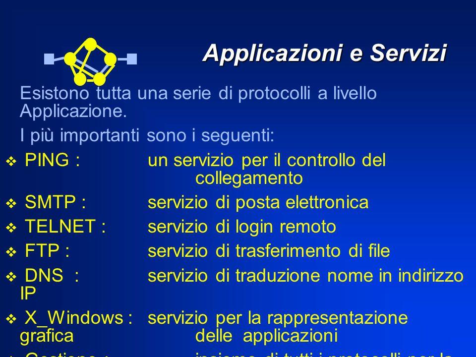 Applicazioni e Servizi Applicazioni e Servizi Esistono tutta una serie di protocolli a livello Applicazione. I più importanti sono i seguenti: PING :