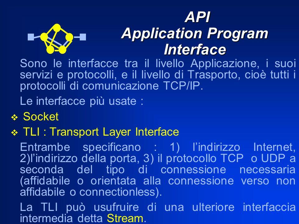 API Application Program Interface API Application Program Interface Sono le interfacce tra il livello Applicazione, i suoi servizi e protocolli, e il