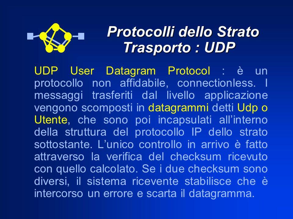 Protocolli dello Strato Trasporto : UDP Protocolli dello Strato Trasporto : UDP UDP User Datagram Protocol : è un protocollo non affidabile, connectio