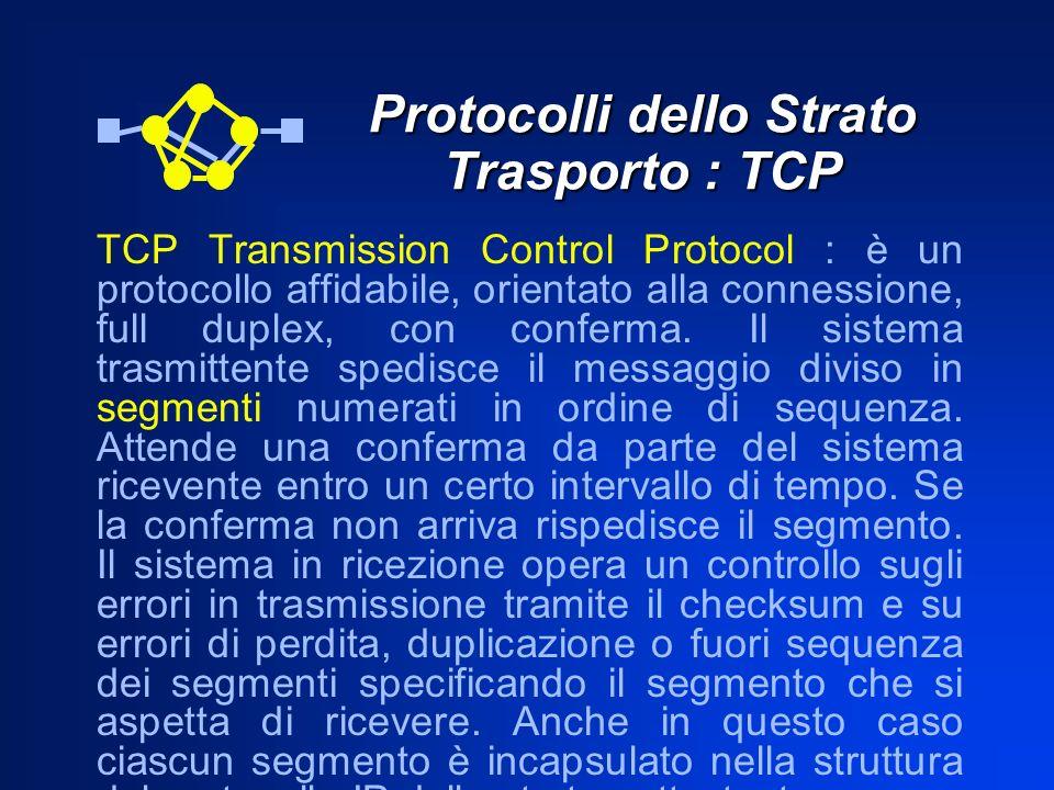 Protocolli dello Strato Trasporto : TCP TCP Transmission Control Protocol : è un protocollo affidabile, orientato alla connessione, full duplex, con c