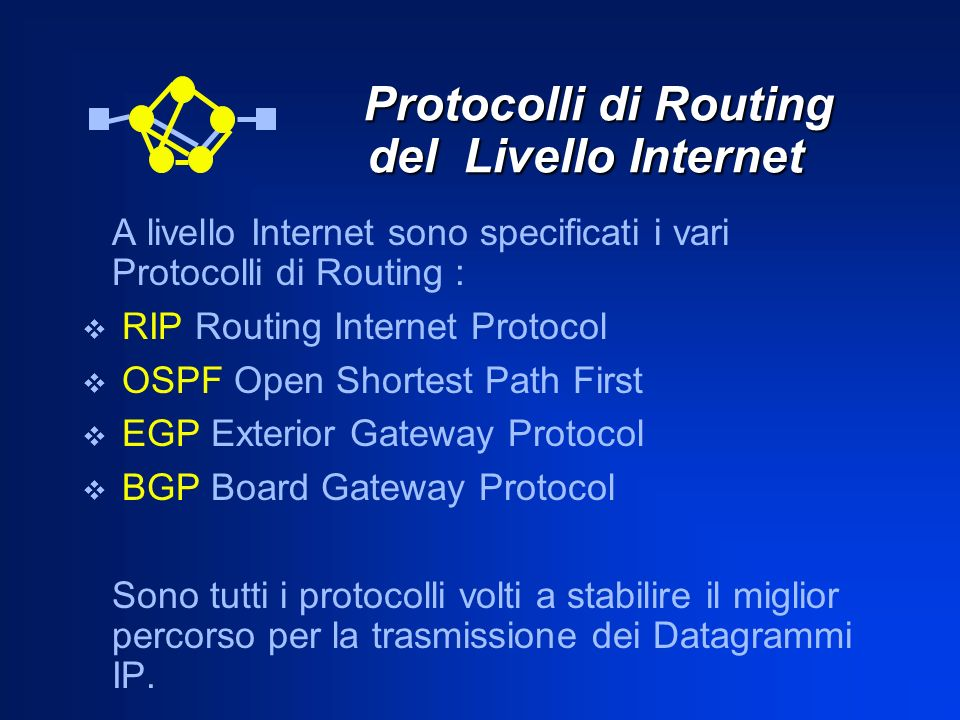 Protocolli di Routing del Livello Internet Protocolli di Routing del Livello Internet A livello Internet sono specificati i vari Protocolli di Routing