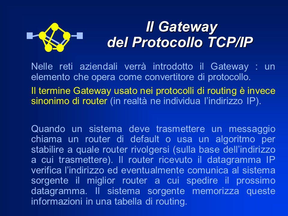 Il Gateway del Protocollo TCP/IP Il Gateway del Protocollo TCP/IP Nelle reti aziendali verrà introdotto il Gateway : un elemento che opera come conver