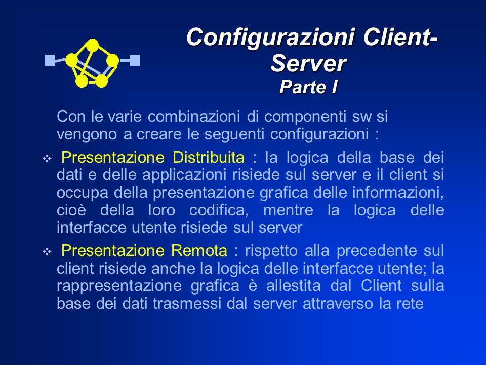 Configurazioni Client- Server Parte I Configurazioni Client- Server Parte I Con le varie combinazioni di componenti sw si vengono a creare le seguenti