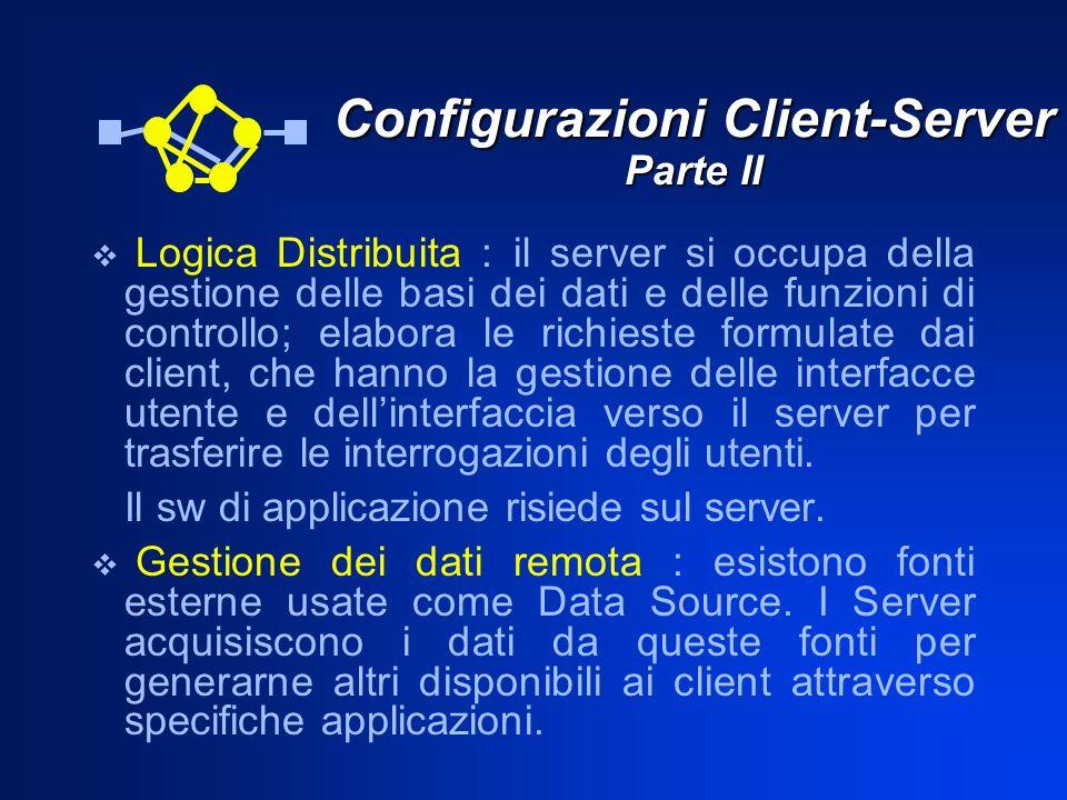 Configurazioni Client-Server Parte II Logica Distribuita : il server si occupa della gestione delle basi dei dati e delle funzioni di controllo; elabo