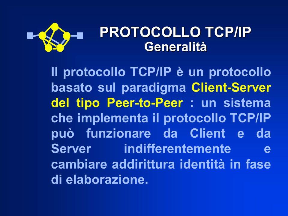 PROTOCOLLO TCP/IP Generalità Il protocollo TCP/IP è un protocollo basato sul paradigma Client-Server del tipo Peer-to-Peer : un sistema che implementa