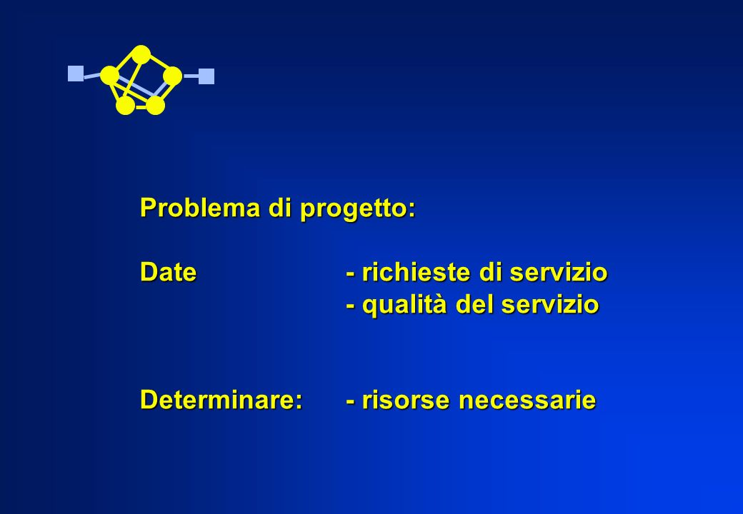 Problema di progetto: Date- richieste di servizio - qualità del servizio Determinare:- risorse necessarie