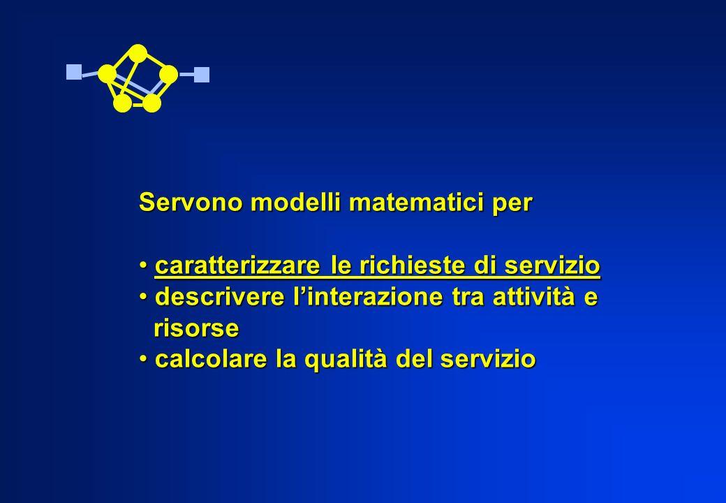 Servono modelli matematici per caratterizzare le richieste di servizio caratterizzare le richieste di servizio descrivere linterazione tra attività e