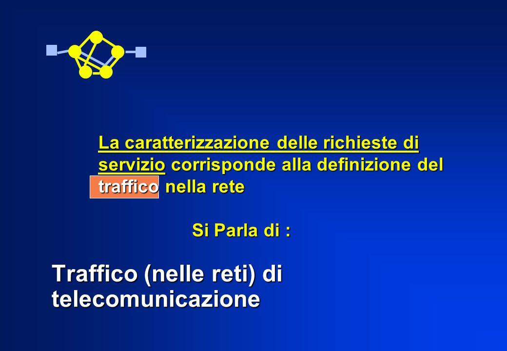 Traffico (nelle reti) di telecomunicazione La caratterizzazione delle richieste di servizio corrisponde alla definizione del traffico nella rete Si Pa