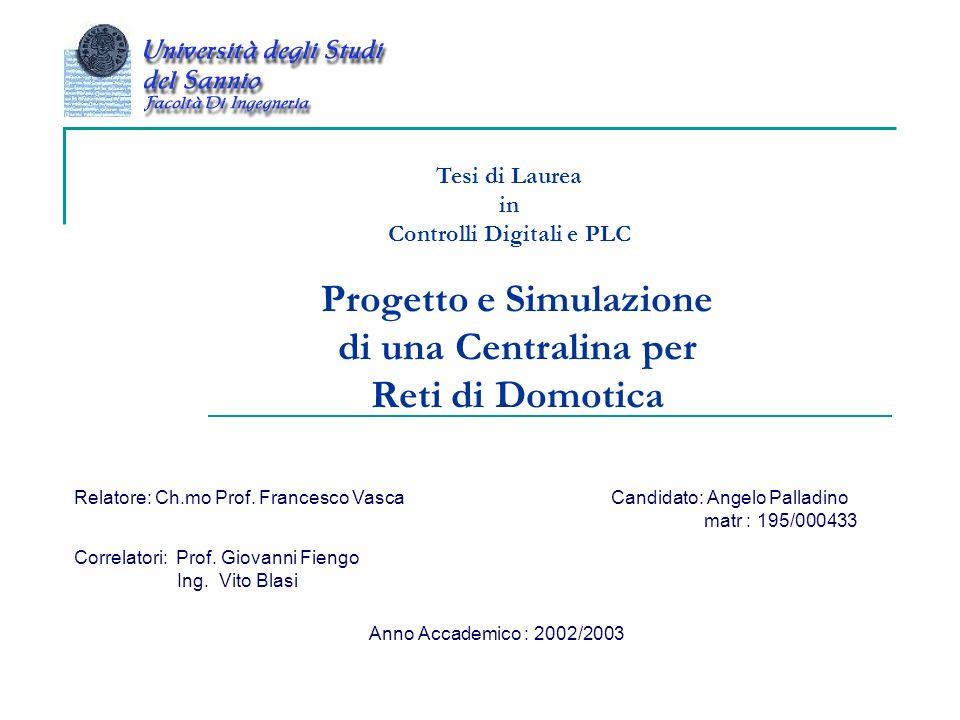 Progetto e Simulazione di una Centralina per Reti di Domotica Tesi di Laurea in Controlli Digitali e PLC Relatore: Ch.mo Prof. Francesco Vasca Correla
