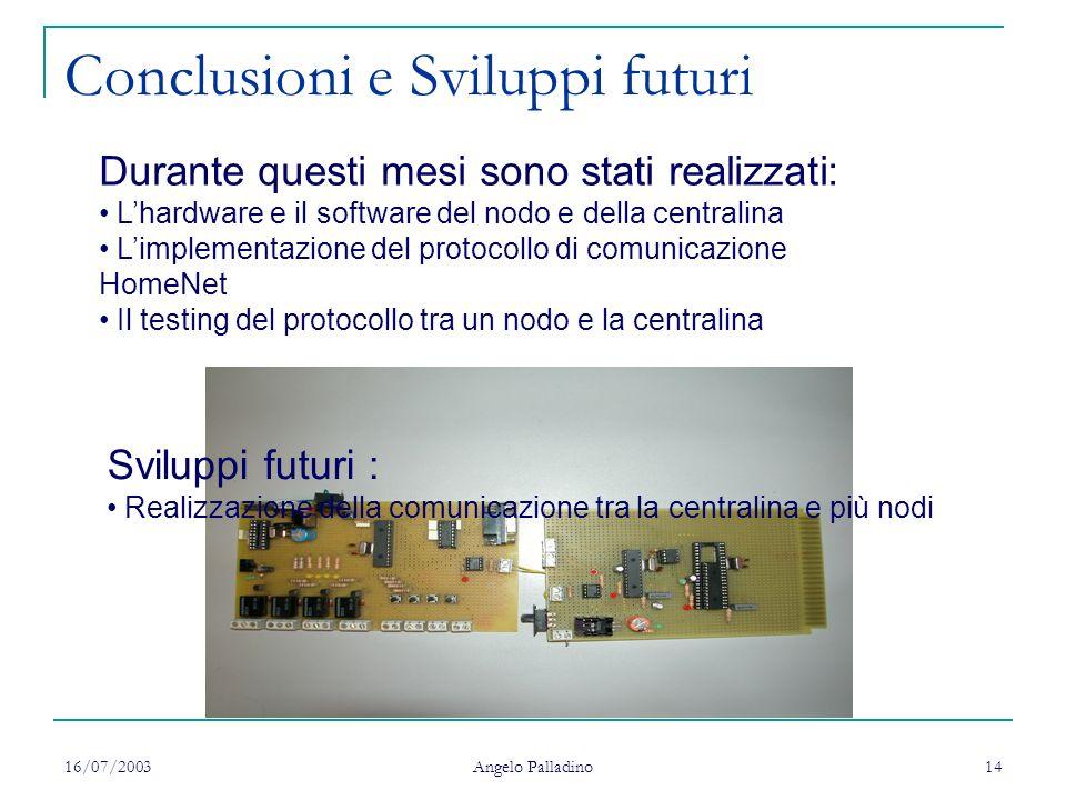 16/07/2003 Angelo Palladino 14 Conclusioni e Sviluppi futuri Durante questi mesi sono stati realizzati: Lhardware e il software del nodo e della centr