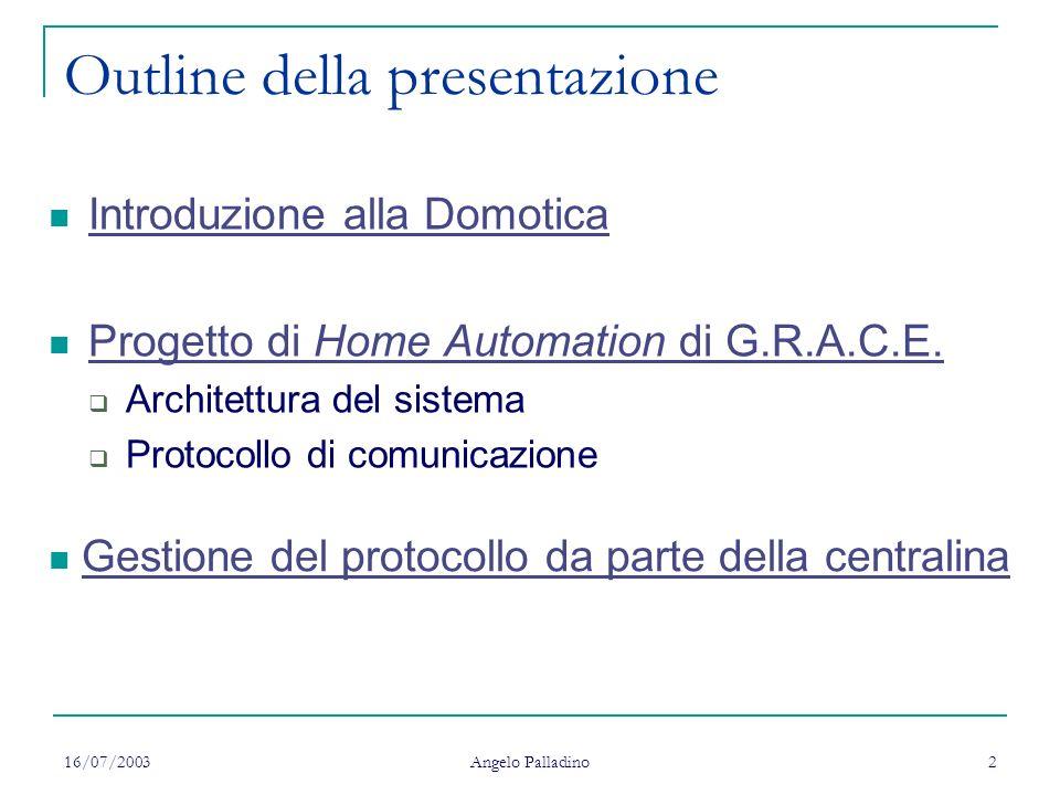 16/07/2003 Angelo Palladino 2 Outline della presentazione Introduzione alla Domotica Progetto di Home Automation di G.R.A.C.E. Progetto di Home Automa