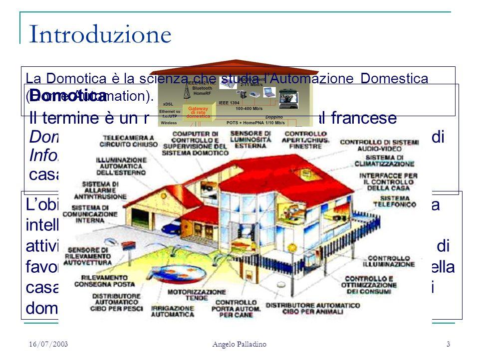 16/07/2003 Angelo Palladino 3 Introduzione Domotica Il termine è un neologismo derivato dal francese Domotique, contrazione della parola latina Domus