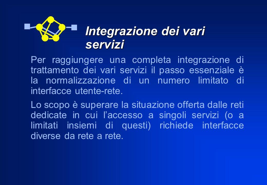 Integrazione dei vari servizi Per raggiungere una completa integrazione di trattamento dei vari servizi il passo essenziale è la normalizzazione di un