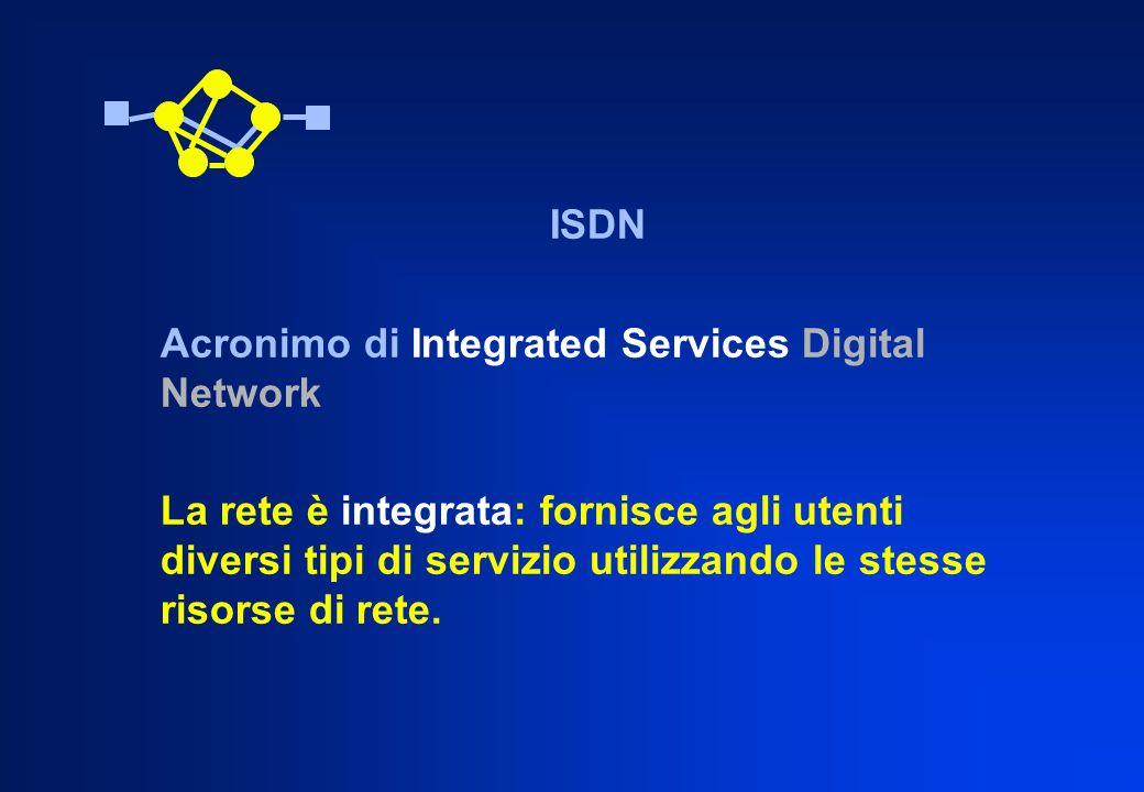 ISDN Acronimo di Integrated Services Digital Network La rete è integrata: fornisce agli utenti diversi tipi di servizio utilizzando le stesse risorse