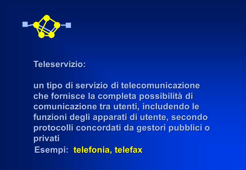 Esempi: telefonia, telefax Teleservizio: un tipo di servizio di telecomunicazione che fornisce la completa possibilità di comunicazione tra utenti, in