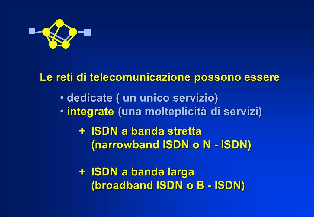Le reti di telecomunicazione possono essere dedicate ( un unico servizio) dedicate ( un unico servizio) integrate (una molteplicità di servizi) integr