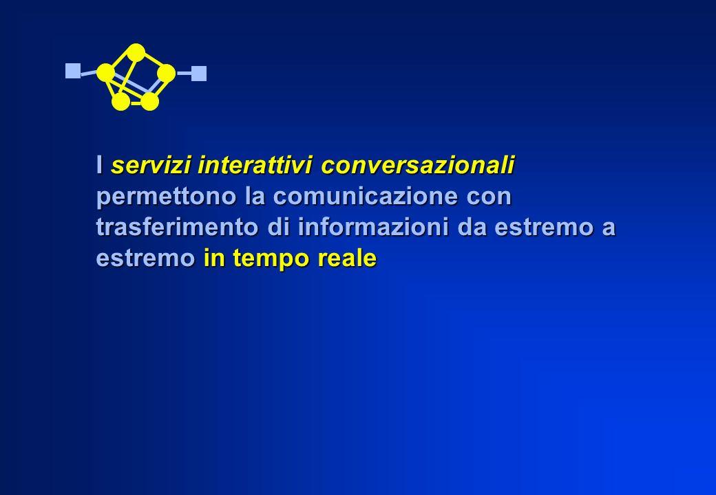 I servizi interattivi conversazionali permettono la comunicazione con trasferimento di informazioni da estremo a estremo in tempo reale