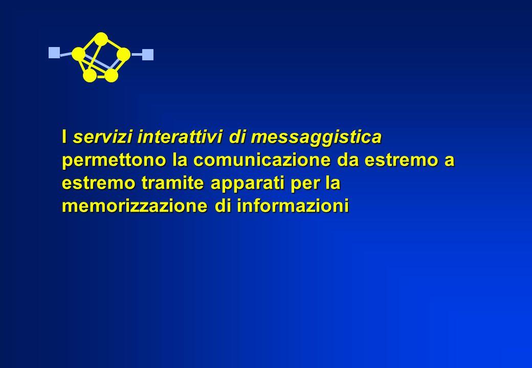 I servizi interattivi di messaggistica permettono la comunicazione da estremo a estremo tramite apparati per la memorizzazione di informazioni