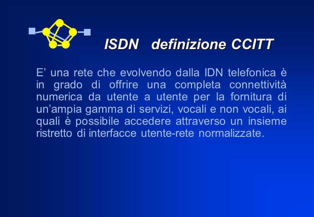 ISDN definizione CCITT ISDN definizione CCITT E una rete che evolvendo dalla IDN telefonica è in grado di offrire una completa connettività numerica d