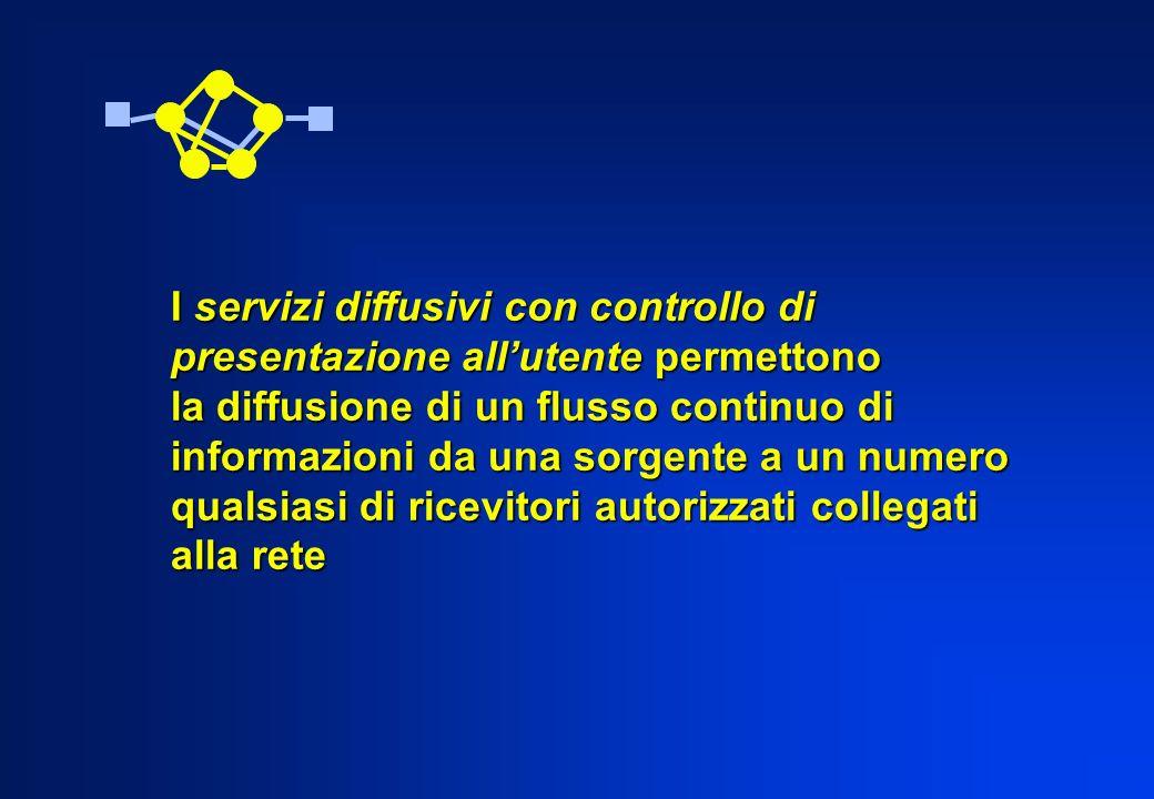I servizi diffusivi con controllo di presentazione allutente permettono la diffusione di un flusso continuo di informazioni da una sorgente a un numer