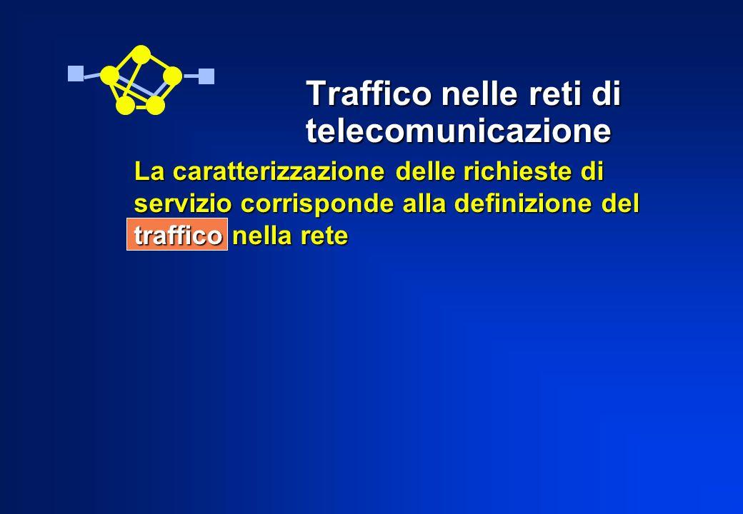 Traffico nelle reti di telecomunicazione La caratterizzazione delle richieste di servizio corrisponde alla definizione del traffico nella rete