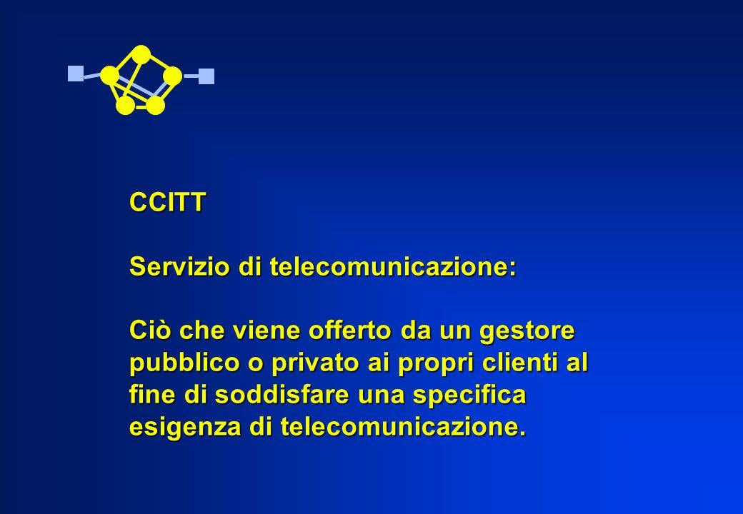 CCITT Servizio di telecomunicazione: Ciò che viene offerto da un gestore pubblico o privato ai propri clienti al fine di soddisfare una specifica esig
