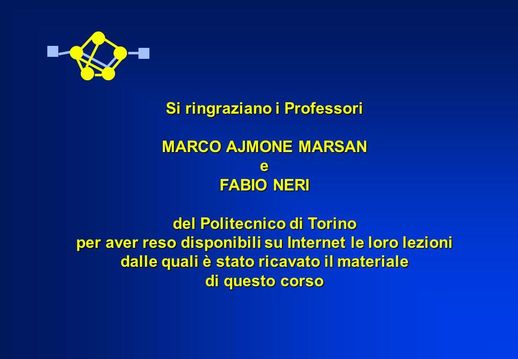 Si ringraziano i Professori MARCO AJMONE MARSAN e FABIO NERI del Politecnico di Torino per aver reso disponibili su Internet le loro lezioni dalle qua