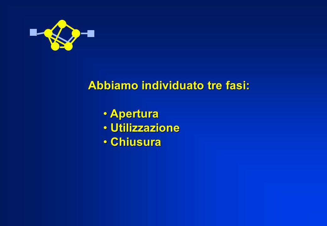 Abbiamo individuato tre fasi: Apertura Apertura Utilizzazione Utilizzazione Chiusura Chiusura