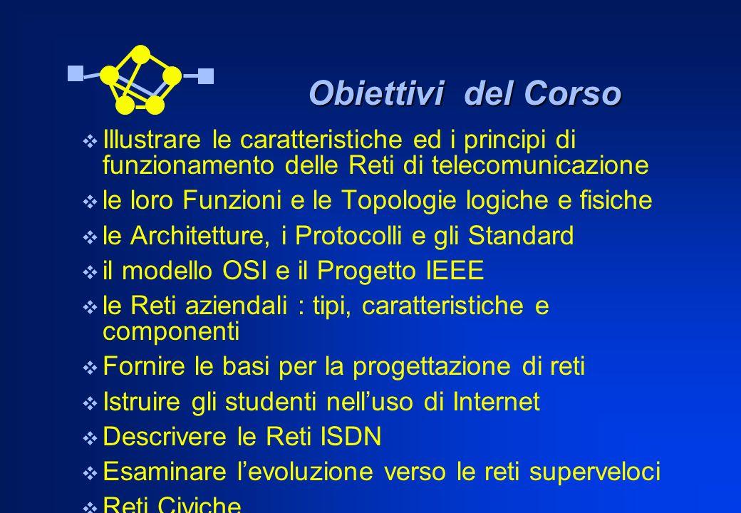 Obiettivi del Corso Obiettivi del Corso Illustrare le caratteristiche ed i principi di funzionamento delle Reti di telecomunicazione le loro Funzioni