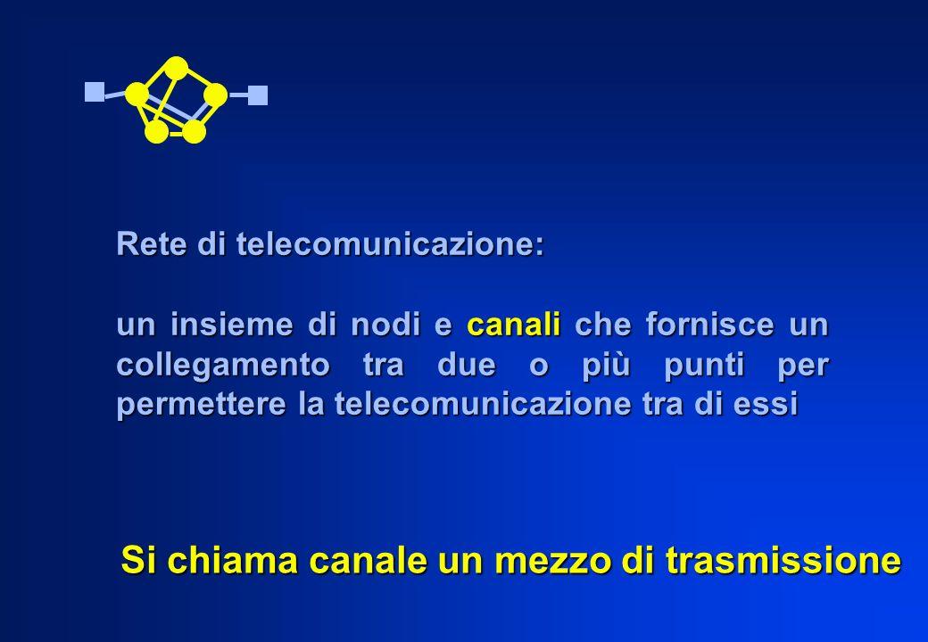 Si chiama canale un mezzo di trasmissione Rete di telecomunicazione: un insieme di nodi e canali che fornisce un collegamento tra due o più punti per