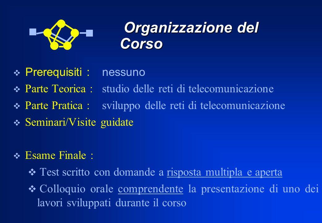 Organizzazione del Corso Organizzazione del Corso Prerequisiti : nessuno Parte Teorica : studio delle reti di telecomunicazione Parte Pratica : svilup