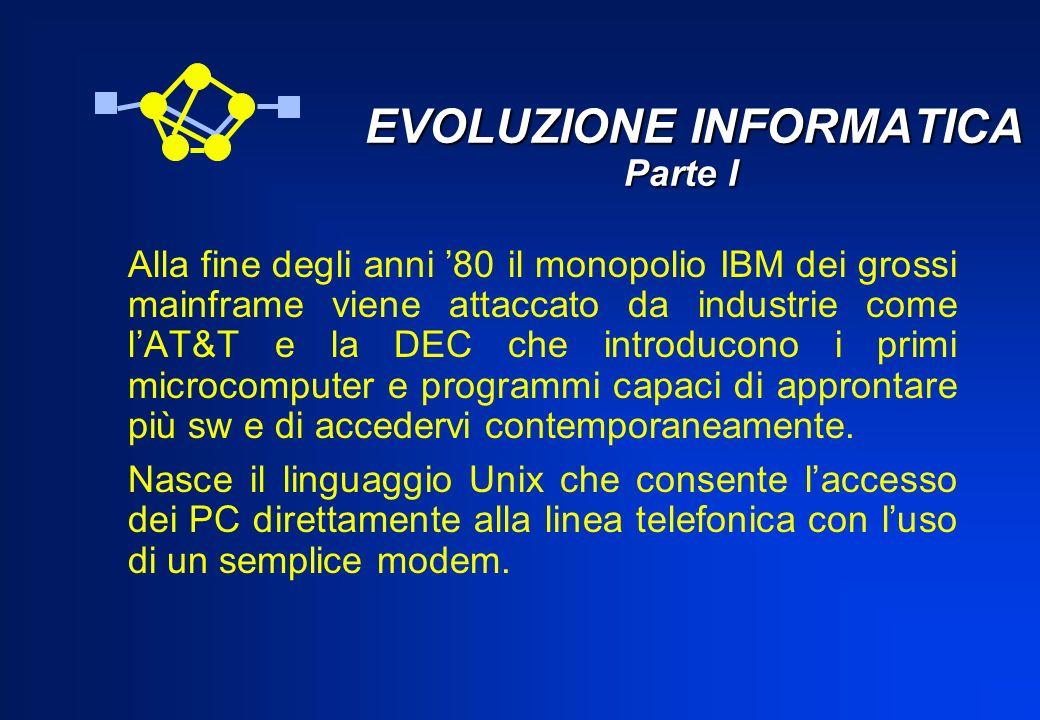 EVOLUZIONE INFORMATICA Parte I EVOLUZIONE INFORMATICA Parte I Alla fine degli anni 80 il monopolio IBM dei grossi mainframe viene attaccato da industr