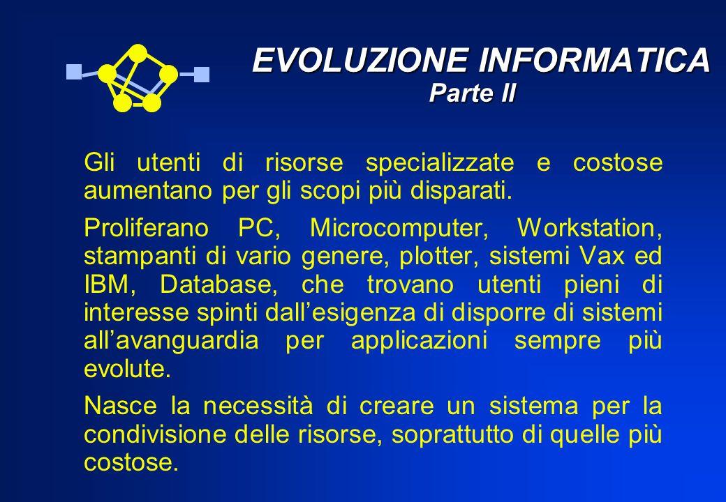 EVOLUZIONE INFORMATICA Parte II EVOLUZIONE INFORMATICA Parte II Gli utenti di risorse specializzate e costose aumentano per gli scopi più disparati. P