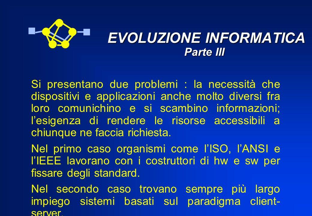 EVOLUZIONE INFORMATICA Parte III EVOLUZIONE INFORMATICA Parte III Si presentano due problemi : la necessità che dispositivi e applicazioni anche molto