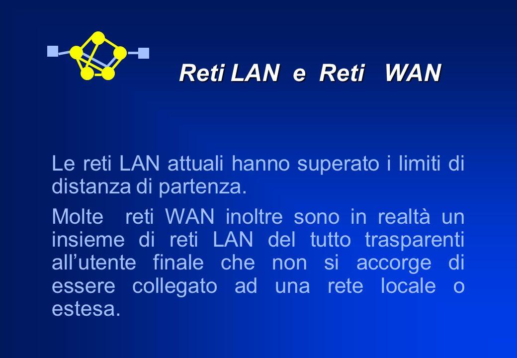 Reti LAN e Reti WAN Reti LAN e Reti WAN Le reti LAN attuali hanno superato i limiti di distanza di partenza. Molte reti WAN inoltre sono in realtà un