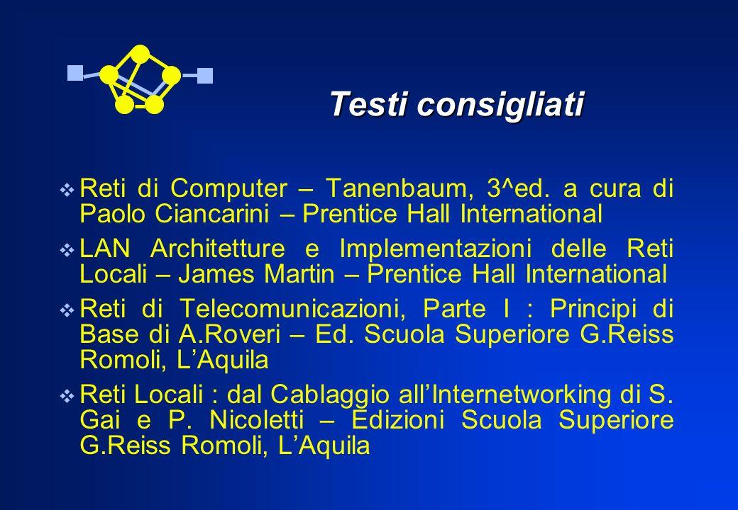 Testi consigliati Testi consigliati Reti di Computer – Tanenbaum, 3^ed. a cura di Paolo Ciancarini – Prentice Hall International LAN Architetture e Im