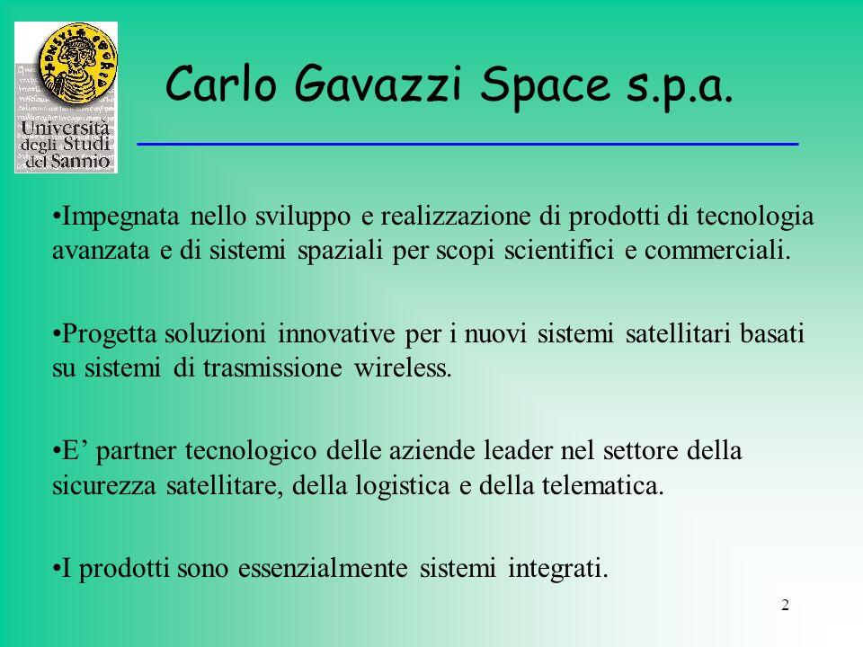 2 Carlo Gavazzi Space s.p.a. Impegnata nello sviluppo e realizzazione di prodotti di tecnologia avanzata e di sistemi spaziali per scopi scientifici e