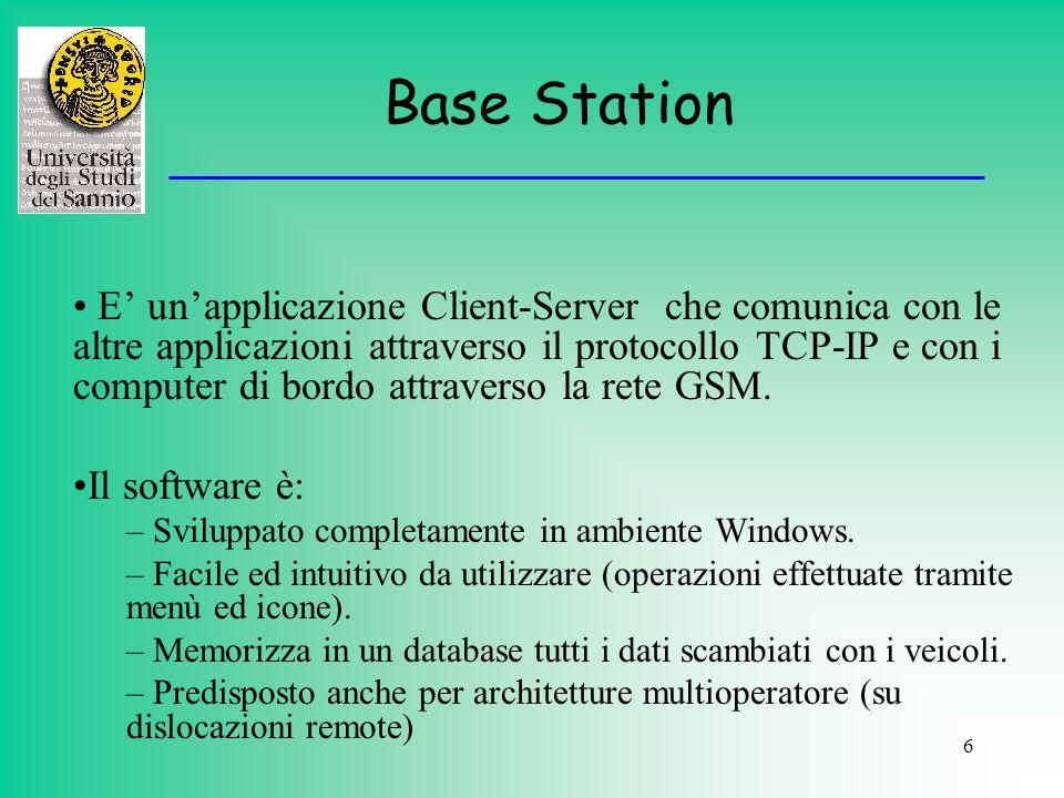 6 Base Station E unapplicazione Client-Server che comunica con le altre applicazioni attraverso il protocollo TCP-IP e con i computer di bordo attrave