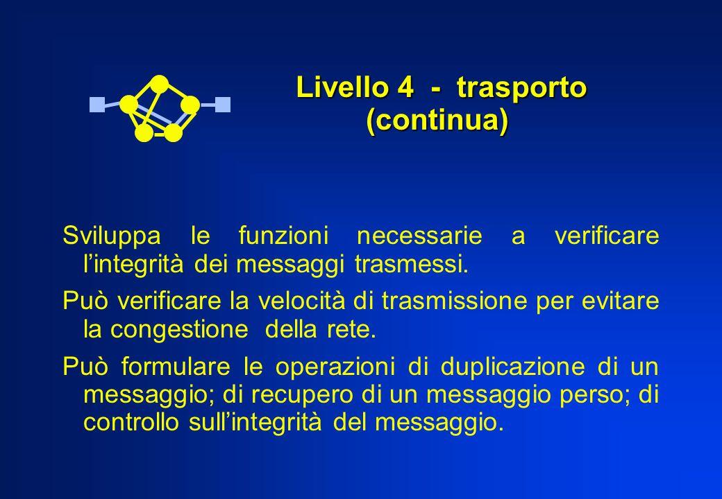 Livello 4 - trasporto (continua) Livello 4 - trasporto (continua) Sviluppa le funzioni necessarie a verificare lintegrità dei messaggi trasmessi. Può