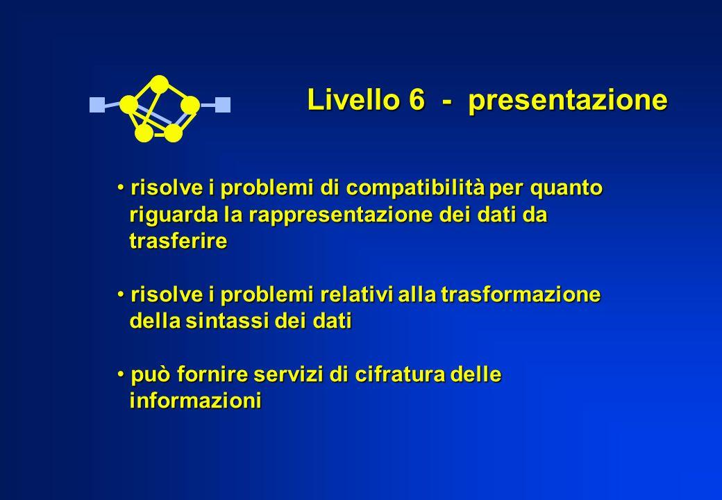 Livello 6 - presentazione risolve i problemi di compatibilità per quanto risolve i problemi di compatibilità per quanto riguarda la rappresentazione d