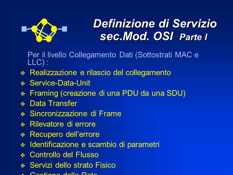 Definizione di Servizio sec.Mod. OSI Parte I Definizione di Servizio sec.Mod. OSI Parte I Per il livello Collegamento Dati (Sottostrati MAC e LLC) : R