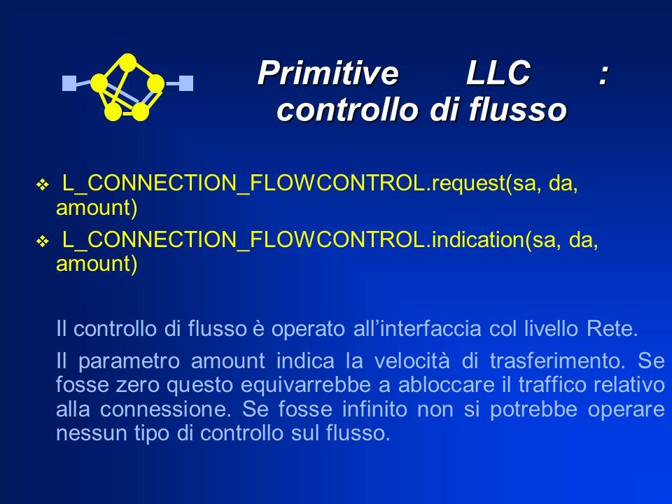 Primitive LLC : controllo di flusso Primitive LLC : controllo di flusso L_CONNECTION_FLOWCONTROL.request(sa, da, amount) L_CONNECTION_FLOWCONTROL.indi