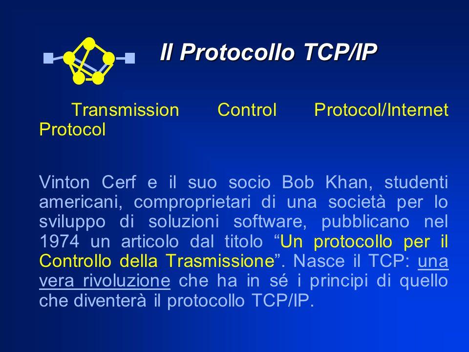 Il Protocollo TCP/IP Il Protocollo TCP/IP Transmission Control Protocol/Internet Protocol Vinton Cerf e il suo socio Bob Khan, studenti americani, com