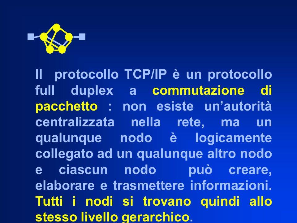 Il protocollo TCP/IP è un protocollo full duplex a commutazione di pacchetto : non esiste unautorità centralizzata nella rete, ma un qualunque nodo è