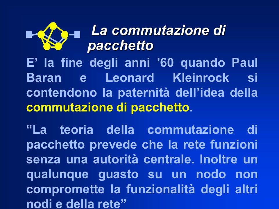 La commutazione di pacchetto La commutazione di pacchetto E la fine degli anni 60 quando Paul Baran e Leonard Kleinrock si contendono la paternità del